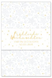 Weihnachtskarte Sterne Banderole Spruch Fröhliche Weihnachten