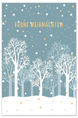Weihnachtskarte Winterlandschaft Glitter Spruch Frohe Weihnachten