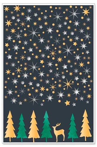 Weihnachtskarte Hirsch Tannen Sterne