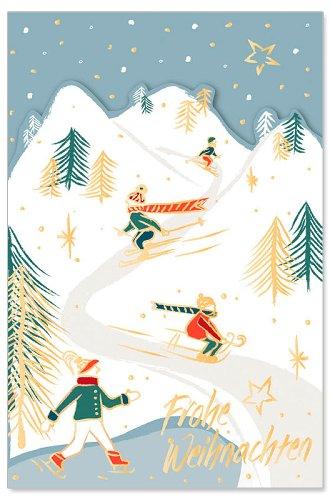 Weihnachtskarte Schlitten Winterlandschaft Spruch Frohe Weihnachten