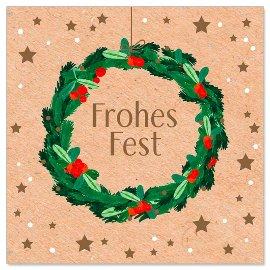 Minikarte Lorbeerkranz Spruch Frohes Fest