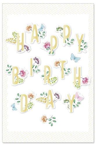 Geburtstagskarte Blumen 3D Spruch Happy Birthday