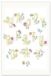 Birthday card flowers 3D