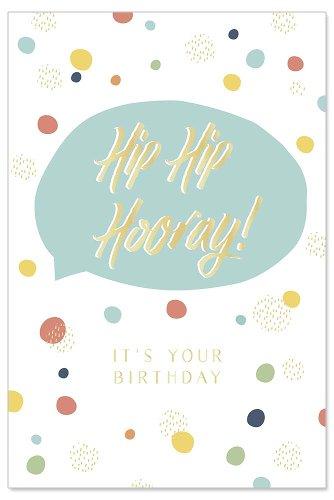 Geburtstagskarte Konfetti Spruch Hip Hip Hooray