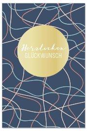 Geburtstagskarte Linien Spruch Herzlichen Glückwunsch