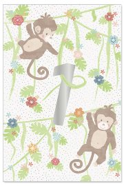 Birthday card kids 1 year monkey