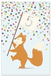 Birthday card kids 5 years fox