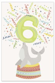 Birthday card kids 6 years seal