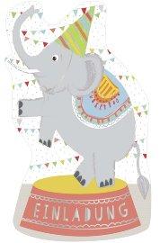Einladungskarte 6er Set Zirkuselefant