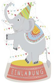 Invitation card elephant 6 pcs. Set