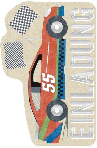 Einladungskarte 6er Set Rennauto