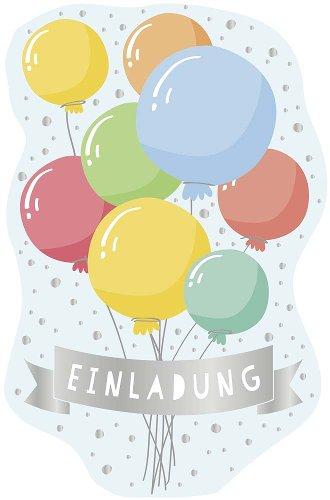 Einladungskarte 6er Set Luftballons