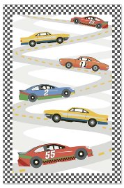 Birthday card kids lenticular car racing