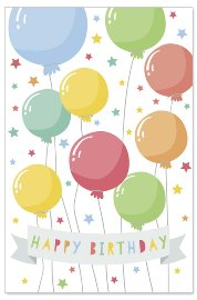 Birthday card kids lenticular balloons