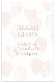 Hochzeitskarte Luftballons Spruch Alles Liebe für das Brautpaar