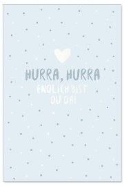 Card baby hurra blue
