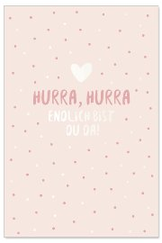 Card baby hurra rose