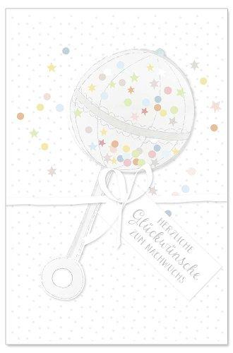 Karte Baby Rassel Spruch Herzliche Glückwünsche zum Nachwuchs