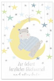 Card baby moon blue