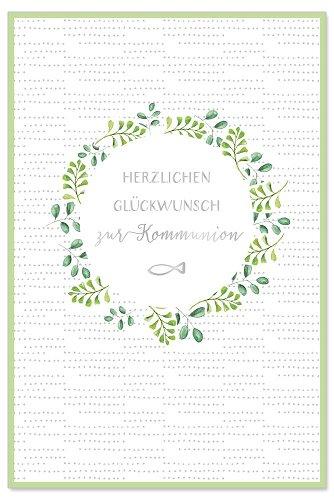 Communion card leaf wreath