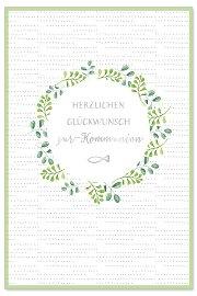 Kommunionskarte Blätterkranz Spruch Herzlichen Glückwunsch zur Kommunion