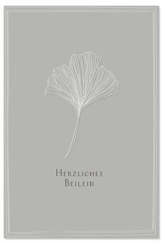 Trauerkarte Blatt Spruch Herzliches Beileid