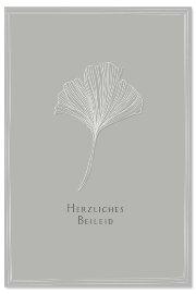 Mourning card leaf Herzliches Beileid
