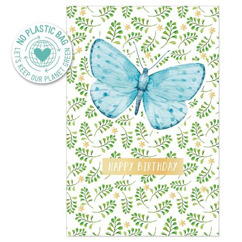 Birthday card butterfly leaves