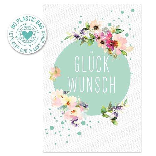 Glückwunschkarte Blumen Spruch Glückwunsch