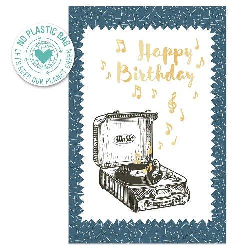 Geburtstagskarte Plattenspieler Spruch Happy Birthday