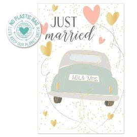Glückwunschkarte Auto Spruch Just Married