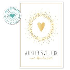 Glückwunschkarte Herz Spruch Alles Liebe & Viel Glück zur Hochzeit