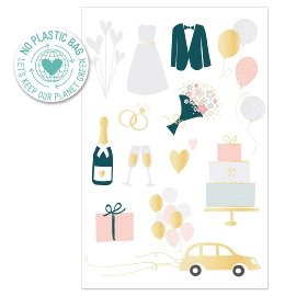 Greeting card wedding icons