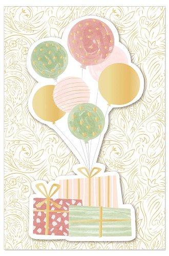 Geburtstagskarte Geschenke Luftballons 3D