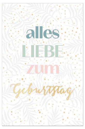 Birthday card leaves Alles Liebe zum Geburtstag