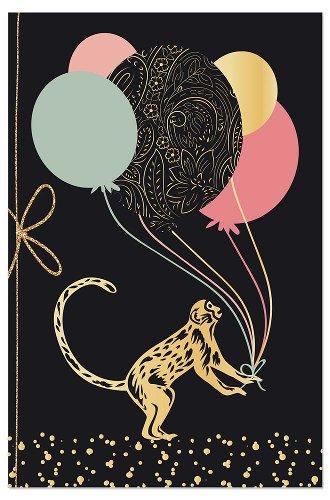 Grußkarte Affe Luftballons Schleife