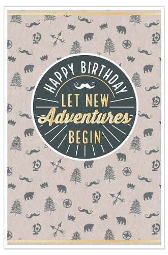 Geburtstagskarte Icons Spruch Happy Birthday Let New Adventures Begin
