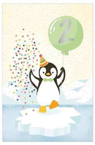 Birthday card kids penguin 2 years