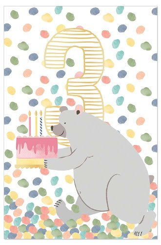Birthday card kids bear 3 years