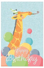 Birthday card kids giraffe