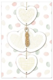 Wedding card garland hearts