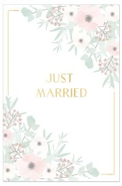Wedding card flowers Just married