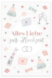 Wedding card icons Alles Liebe zur Hochzeit