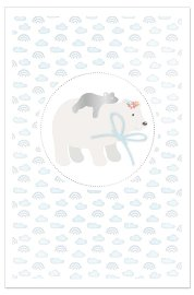 Card baby polar bear blue