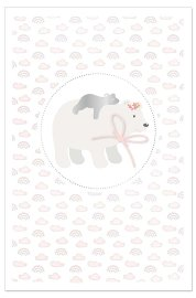 Card baby polar bear rose