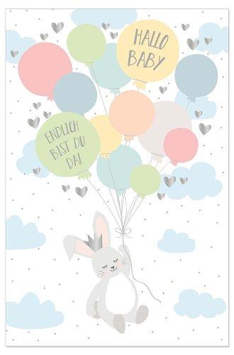 Karte Baby Hase Luftballons Spruch Hallo Baby Endlich Bist Du Da