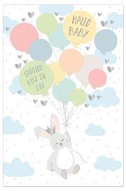 Card baby rabbit balloons