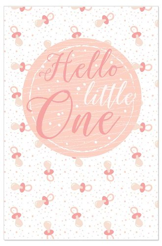 Card baby dummy Hello little one rose