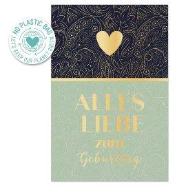 Birthday card flower pattern Alles Liebe zum Geburtstag