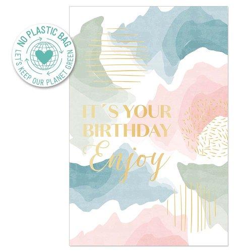 Geburtstagskarte Aquarell Spruch It's your Birthday